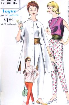 1960s ELEGANT Coat Blouse Slacks and Cummerbund Pattern VOGUE 5234 Day, Resort Weekend Wear or Evening Bust 32 Vintage Sewing Pattern UNCUT