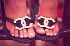 Diamond Chanel Couture Flip Flops!!!!!