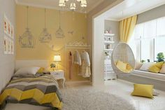 ideas colourful ideas girl room ideas with balloons decor ideas for stairs ideas in bedroom ideas home decor ideas ideas room girl Small Room Bedroom, Small Rooms, Home Bedroom, Girls Bedroom, Bedroom Decor, Bedroom Ideas, Bedroom Yellow, Yellow Walls, Child's Room