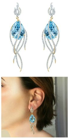 Arya Esha Galaxy collection Comet earrings featuring blue topaz (34.37 ctw) and diamonds (1.83 ctw) set in recycled 18k gold, yellow, white, or rose finish. Product shot and on model.