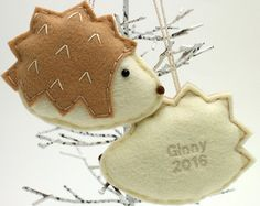 Light Colored Felt Hedgehog Ornament / Personalized Handmade 2017 Kids Pets Name Ornament / Made to Order