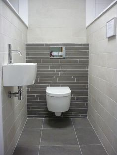 Space Saving Toilet Design for Small Bathroom - Home to Z Bathroom Inspiration, Space Saving Toilet, Small Bathroom, Toilet, Small Toilet Room, Toilet Design, Bathroom Design Small, Tile Bathroom, Shower Room