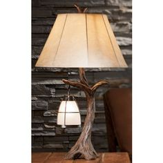 for boys room.Hanging Lantern Table Lamp at Cabelas Luminaire Design, Lamp Design, Driftwood Lamp, Tree Lamp, Rustic Lamps, Hanging Lanterns, Hanging Table, Bedroom Lamps, Unique Lamps