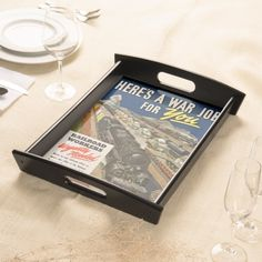 A War Job For You Serving Tray From zazzle.com - #stanrails_store  - $67.95--- Entertain in style with this customized serving tray! Printed in full color, the serving tray comes in two sizes with a black or natural wood finish. Personalize with your photos, texts, and designs for a high quality serving tray that's perfect to match your décor or send as a gift to your favorite hostess.  #Vintage   #WW2   #Railroads #Jobs #ServingTray