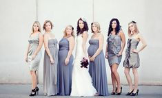 loving the look of telling your bridesmaids a color and letting them choose