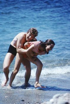 St Tropez, France, 1967: Audrey and Albert Finney in a scene from Two For The Road