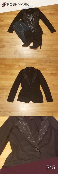Material Girl Blazor Black with a sparkle neck line blazor. One button in front with two pockets. Shoulder pads for edgy look (they are removable). Material Girl Jackets & Coats Blazers