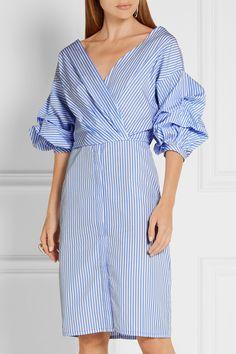 Johanna Ortiz | Tuxedo wrap-effect striped cotton-poplin shirt dress…