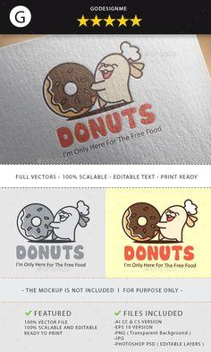 Sweet Donuts Logo Design Template PSD, Transparent PNG, Vector EPS, AI Illustrator