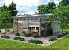 projekt Managua dom letniskowy SLN1769 L Shaped House Plans, Small House Plans, Managua, Model House Plan, Weekend House, Backyard, Patio, Small House Design, Home Design Plans