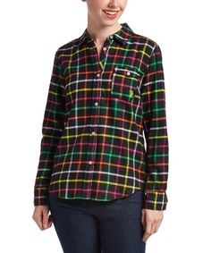 Another great find on #zulily! Black & Neon Plaid Boyfriend Button-Up #zulilyfinds