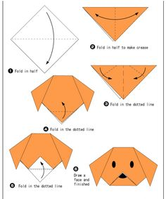- Easy Origami For Kids Dog(face) - Easy Origami For Kids .Dog(face) - Easy Origami For Kids . Chat Origami, Instruções Origami, Origami Ball, Origami Dragon, Origami Fish, Origami Folding, Paper Crafts Origami, Hanging Origami, Origami Bookmark