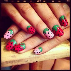 Strawberry nails! Doesn't get more summer than that.