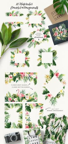 Watercolor Tropical Summer Design - palm leaves, flamingos, hibiscus flowers - frames, borders and patterns