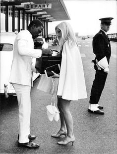 Brigitte Bardot at the airport , 1967