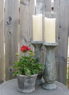 Cement-Look Candlesticks