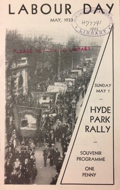'Labour Day, May 1933' TUC Collection. Labour Day, May Days, May 7th, Event Ticket, Collection