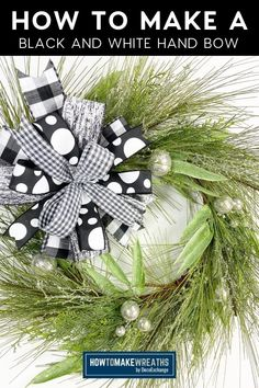 Coach Mel is showing you how to make a beautiful black and white bow by hand. No additional tools needed, and you still end up with a gorgeous bow to add to any home decor. Make Your Own Wreath, How To Make Wreaths, How To Make Bows, Hands Tutorial, Arts And Crafts, Diy Crafts, Pretty Room, Front Door Decor, Deco Mesh