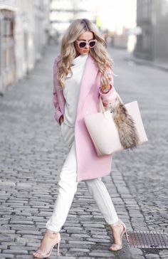 Sendi Skopljak is wearing a pink coat from Chicy, white top and bag from Bershka, trousers from Persunmall and nude shoes from Steve Madden