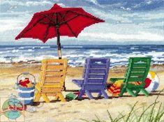 Dimensions - Beach Chair Trio - CrossStitchWorld Cross Stitch Sea, Cross Stitch Kits, Cross Stitch Patterns, Needlepoint Designs, Needlepoint Kits, Cross Stitching, Cross Stitch Embroidery, Embroidery Patterns, Hand Embroidery