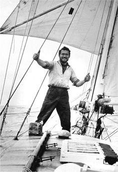 """Sir William Robert Patrick """"Robin"""" Knox-Johnston, CBE, RD and bar is an English sailor. In 1968 he became the first man to perform a single-handed non-stop circumnavigation of the globe and was the second winner of the Jules Verne Trophy. Onboard the Suha Catamaran, Nautical Outfits, Honfleur, Le Havre, Sail Away, Black N White Images, Wooden Boats, Tall Ships, Belle Photo"""