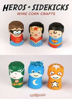 Try it superhero crafts for kids is part of Prosecco Cork crafts - New set of mollymoo wine cork characters themed superheros and sidekicks superhero crafts for kids don't get any cuter than this! Wine Craft, Wine Cork Crafts, Wine Bottle Crafts, Wooden Crafts, Wine Cork Projects, Craft Projects, Crafts For Boys, Diy For Kids, Decoration Creche