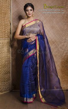 Half and Half Saree in Royal Blue and Gold