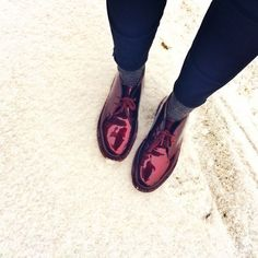 Dr. Martens Patent Cherry Red Shoes | Spotted on @Refinery29