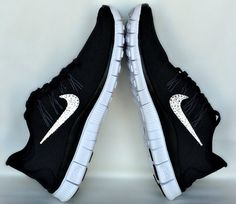 finest selection 0dd25 19282 Womens 2013 Nike Free 5.0 in Black with 6 sizes of hand placed SWAROVSKI  Xirius Rose