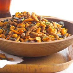 Use this hot and spicy snack mix for a high protein snack during work or as a popular party appetizer. With healthy nuts and seeds and a kick of chili and cayenne pepper, you will be craving this easy snack instead of heading to the vending machine.