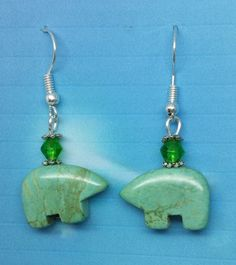 Green Turquoise Zuni Gear Earrings, the Bear is the guardian of the mother eath by HollinsHandMade on Etsy