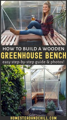 Greenhouse Benches, Simple Greenhouse, Build A Greenhouse, Greenhouse Shelves, Greenhouse Ideas, Outdoor Gardens, Indoor Outdoor, Outdoor Ideas, Garden Projects