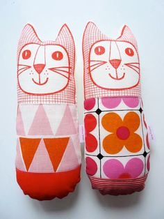 Scandinavian linen fabric plush toy cat softie by Jane Foster