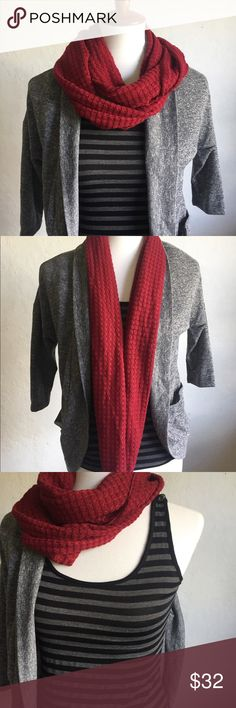 """Inspired Hearts NWOT Cardigan Tank & Scarf Set S NWOT Lightweight, stretchy cotton/poly blend sweater set with pockets:  Gray cardigan 17""""x25"""" Striped tank 15""""x19"""" Red infinity scarf  🌷Thank you for visiting my closet! Inspired Hearts Sweaters Cardigans"""