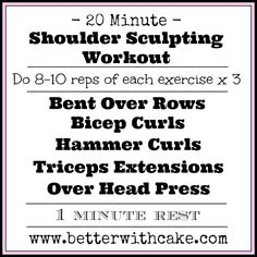Fit Friday Fun – A 20 Minute Shoulder Sculpting Workout & A Bonus Dark Chocolate Salted Caramel Coconut Mocha Smoothie Summer Body Workouts, Quick Workouts, Arm Workouts, Daily Workouts, At Home Workouts, Exercises, Barre Workout, Dumbbell Workout, Fitness Classes