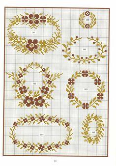 "Photo from album ""Repertoire des Motifs"" on Yandex. Cross Stitch Borders, Modern Cross Stitch Patterns, Cross Stitch Flowers, Counted Cross Stitch Patterns, Cross Stitch Charts, Cross Stitch Designs, Cross Stitching, Diy Embroidery, Cross Stitch Embroidery"
