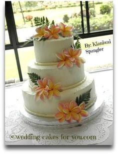 Love the placement of the flowers on this cake, (but they are not purple and the frosting isn't lavender and there is no white piping trim. Hawaiin Wedding Cake, Hawaiian Wedding Themes, Luau Wedding, Hawaii Wedding, Wedding Ideas, Hawaiian Theme, Hawaiian Flowers, Wedding Inspiration, Wedding Cake Rustic
