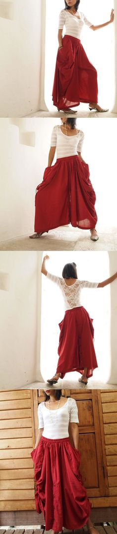 Helen+Skirt/+PantsRed+cotton+convertible+SXL+by+cocoricooo+on+Etsy,+$43.00