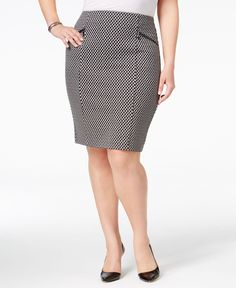 Alfani 8980 Womens Jacquard-Woven Above The Knee Pencil Skirt Plus Bhfo Office Attire, Office Outfits, Work Attire, Work Fashion, Fashion Design, Work Skirts, Linen Skirt, Jacquard Weave, Houndstooth