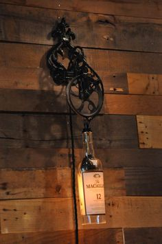 wine bottle sconce with bracket | Recycled Whiskey, Wine, Liquor Bottle Steampunk Wall Sconce