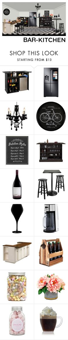 """dream kitchen: Bar-Kitchen"" by eztii-pratiwii ❤ liked on Polyvore featuring interior, interiors, interior design, home, home decor, interior decorating, Samsung, Gallery, Home Decorators Collection and Stupell"