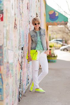 s e e r s u c k e r + s a d d l e s: Brights & Whites... would skip the neon, but like the top, jeans, and vest very much