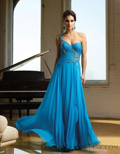 Alluring A-line Floor-length One Shoulder Chiffon Evening Dresses