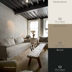 Pure & Original online store for the USA. Chalk based paint, lime paint, and plaster paint. Black White Bedrooms, Lime Paint, Paint Color Palettes, Natural Interior, Interior Paint Colors, Bedroom Colors, Interior Design Inspiration, House Colors, Wall Colors