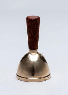 Bertel Gardberg; Teak and Brass Hand Bell, 1956.