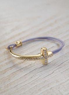 Lilac Bracelet with Gold Jewel Embellished Cross,  Jewelry, cross bracelet  faux leather, Casual
