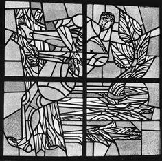 Glas in Lood, M. de Leeuw, Stadhuis (1964), nu Kantongerechtsgebouw. Stadhuisplein