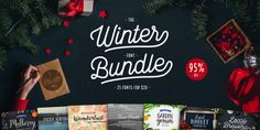 OFF - Winter Font Bundle by Cultivated Mind on Pretty Fonts, Beautiful Fonts, Cool Fonts, Hand Lettering Fonts, Handwriting Fonts, Winter Fonts, Silhouette Fonts, Journal Fonts, Title Font