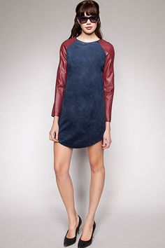 looove this two-toned suede/ patent leather.. Pixie Market Crosby Suede Dress, $73