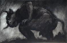 """El Hurgador [Arte en la Red]: Paul Rumsey [Dibujo], """"Hombre Toro / Bull Man"""", carboncillo sobre cartulina / charcoal on card, 54 x 81 cm., 2014"""